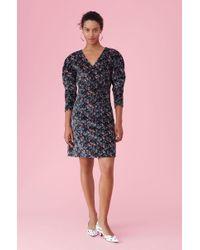 5a746efb142 Lyst - Rebecca Taylor La Vie Windowpane Plaid Dress in Black