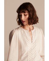 Rebecca Taylor Tailored Mixed Shirting Stripe Top - Natural
