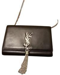 Saint Laurent Kate Monogram Tassel Chain aus Leder - Schwarz