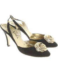 Chanel Slingbacks mit floraler Applikation - Schwarz