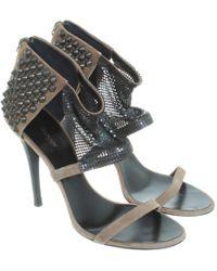 Balmain Wildleder-Sandalen mit Nieten - Braun
