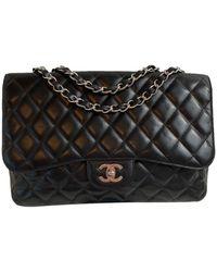 Chanel Classic Flap Bag Jumbo aus Leder - Schwarz