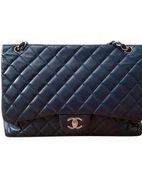 Chanel Classic Flap Bag Maxi aus Leder - Blau