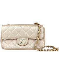 Chanel Classic Flap Bag Mini Rectangle aus Leder - Natur