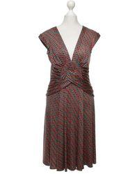 Issa Kleid mit Motiv-Print - Braun