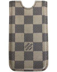 Louis Vuitton IPhone Case aus Damier Azur Canvas - Natur