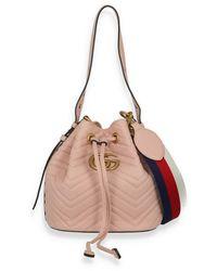 Gucci Marmont Quilted Bucket Bag aus Leder - Pink