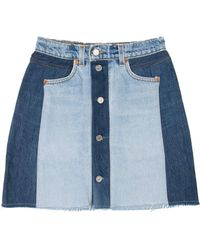 RE/DONE - Button Front Mini Skirt - Lyst