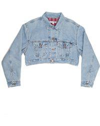 RE/DONE - Cropped Denim Jacket - Lyst