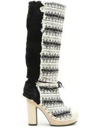 Chanel | Boots In Bicolor Tweed And Faux Fur Size 39.5 | Lyst