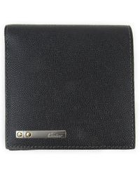 Cartier - Two Fold Wallet Embossing Leather Black - Lyst
