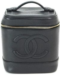 Chanel - Vanity Hand Bag Cavier Skin Leather Black A01998 Vintage 90039783.. - Lyst