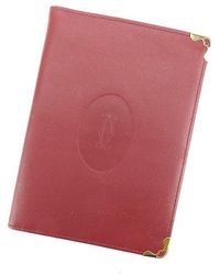Cartier Passport Case Must Line Used Y5889 - Red