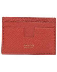 Tom Ford Leather Card Holder - Orange