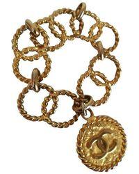 Chanel | Gold Tone Cc Logo Pendant Bracelet | Lyst
