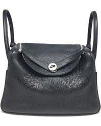 Hermès - Taurillon Clemence Leather Lindy 30 Shw Satchel Black 4726 - Lyst