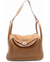 Hermès - Clemence Leather Lindy 30 Silver Metal Shoulder Tote Bag Gold 9701 - Lyst