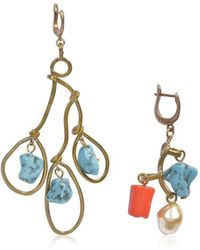 Marni - Asymmetrical Earrings With Pendant Stone In Light Blue Resin - Lyst