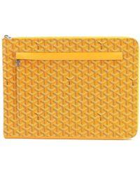 Goyard - Sorbonne Chevron Pvc Leather Document Case Yellow Purse 90038732.. - Lyst