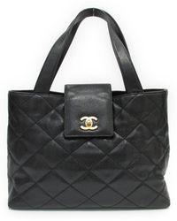 Chanel - Cc Caviar Skin Tote Bag Shoulderbag Leather Black W o Pouch - Lyst 55bdb244673c5