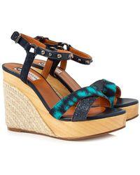 9a596b2d905 Lanvin Espadrille Wedge Sandals in White - Lyst