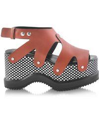 Proenza Schouler Nappa Leather Sandal W/optical Print Wedge - Brown