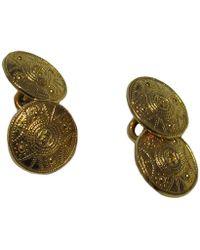 Chanel - Vintage Round Cufflinks In Gilded Metal - Lyst