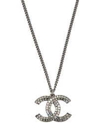 Chanel Pre-owned Necklace And Earrings Set - Gray