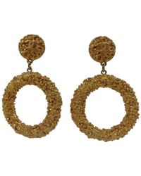 Chanel | Gold Tone Circle Cc Logo Clip On Earrings | Lyst