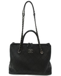 Chanel - 2way Chain Shoulder Tote Bag Caviar Skin Leather Black Used  Vintage - Lyst 1ab2bb1799413