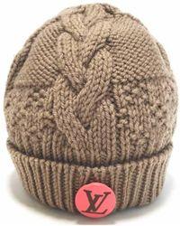 Louis Vuitton - Knit Hat Knit Cap Beige With Pink Batch - Lyst 032abb9d65a1