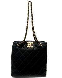 Chanel - Authentic Vintage Chain Shoulder Tote Bag Caviar Skin Leather Black  - Lyst 32346246eef22