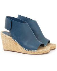 8905cfe980c Céline White Leather Crossover Platform Ankle Strap Espadrille ...