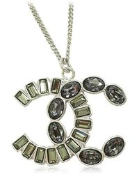 Chanel - 2017aw New Big Cocomark Square Round Struss Necklace Silver/gray A96718[brand New][authenic] - Lyst