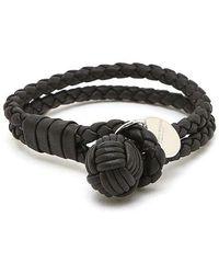 Bottega Veneta Navy Intrecciato Knot Bracelet - Black