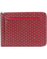 Goyard Sorbonne Chevron Pvc Leather Document Case Red Purse 90038734..