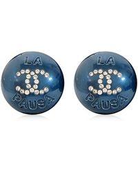 "Chanel - 2019 Cruise Line New ""la Pausa"" Rhinestone Coco Mark Circle Pearl Pierces Metallic Blue Ab0757[brand New][authentic] - Lyst"