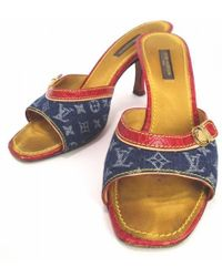 ee4b18bae93f Louis Vuitton - Mules Monogram Denim 36 1 2 23.5 Cm Sandal Vuitton - Lyst