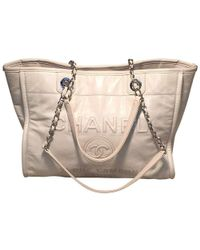 Chanel - White Glazed Leather Deauville Shopping Bag Tote - Lyst