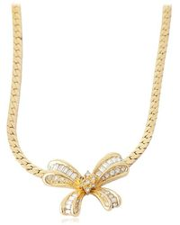 Dior Pre-owned Bow Crystals Necklace - Metallic
