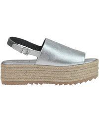 Brunello Cucinelli - Metallic Effect Leather Wedge Sandals - Lyst