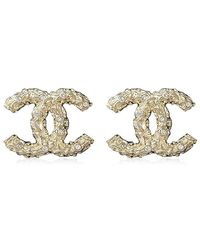 Chanel - Coco Mark Rhinestone Earrings Gold Ab0499[brand New][authentic] - Lyst