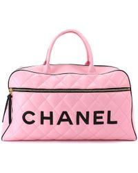 Chanel | Matelasse Luggage Leather Pink Black 90043270.. | Lyst