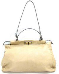 44a40d0163f5 Fendi - Peekaboo Selleria Shoulder Hand Bag Leather (calf) Beige Gray - Lyst