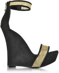 Balmain - Samara Golden Mesh And Black Suede Wedge Sandals - Lyst