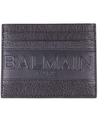 Balmain - Black Cardholder In Hammered Goatskin With Embossed Brand Logo - Lyst