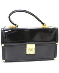 Versace Sunburst Vanity Bag Hand Bag Black Patent Leather