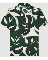 Reiss Soul - Printed Cuban Collar Shirt - Green
