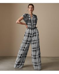 866a68fb473 Reiss - Natascha - Checked Wide Leg Jumpsuit - Lyst