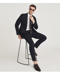 Reiss Kin - Slim Fit Linen Trousers - Blue